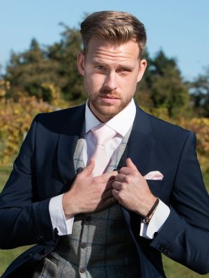 Blue Navy Suit With Tweed Waistcoat