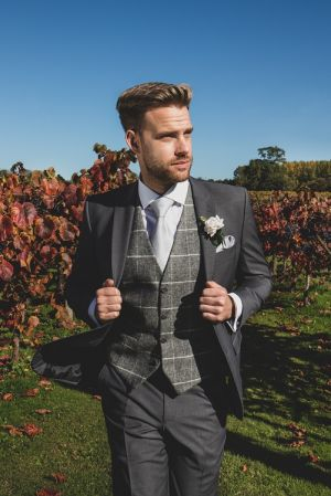 Grey Lounge Suit And Tweed Waistcoat