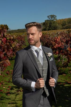 Grey Lounge Suit With Tweed Waistcaot