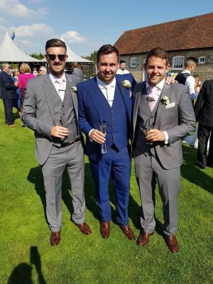 Grey And Blue Slim Fit Suits