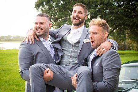 Grey Slim Fit Suit With Tweed