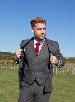 Grey woolen wedding suit