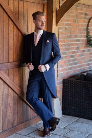 Modern Blue Navy Tailcoat Suit