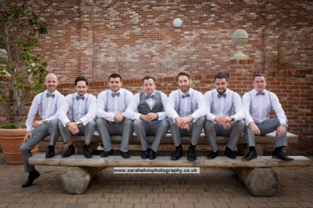 James and his groomsmen in bow tie, braces and a waistcoat