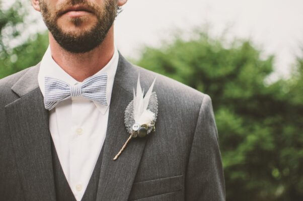 photograph of a charcoal wedding suit average cost to hire £140 from Astares