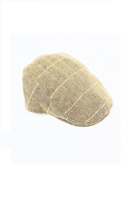 Cavani Albert Tan Tweed Effect Flat Cap