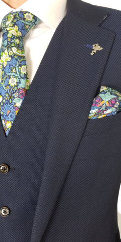 Herbie Frogg 3pc Blue Navy Textured Suit