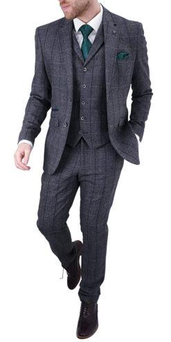 Cavani Albert Grey Tweed Effect Suit