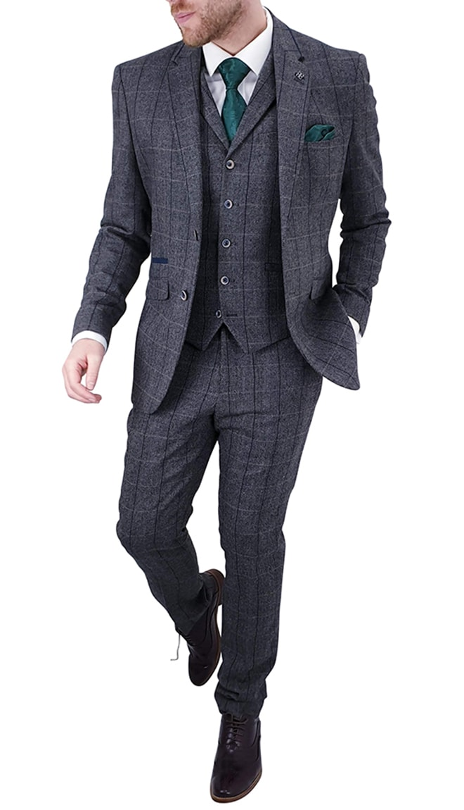 Cavani Albert Grey Tweed Effect Suit Astares