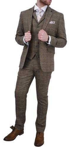 Cavani Albert Tan Tweed Effect Suit
