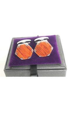 Wooden hexagon cufflinks