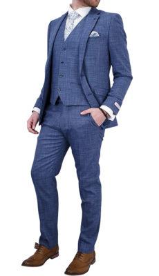 Light Blue Textured 3 pc Suit
