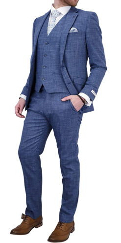 Light Blue Textured 3 pc Suit