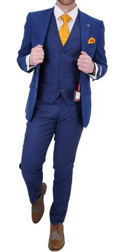 Blue 3 pc Suit with Pattern Jacket