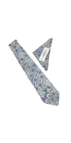 Liberty Lodden Blue Cotton Tie and Hankie