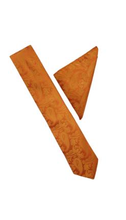 Orange Paisley Tie and Hankie