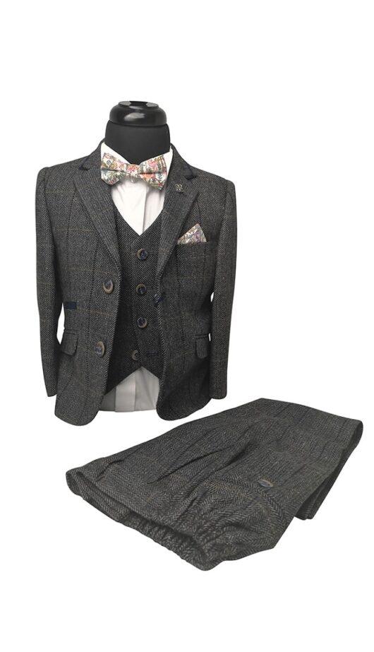 Boys Grey Tweed Effect 3pc Suit - Cavani Albert