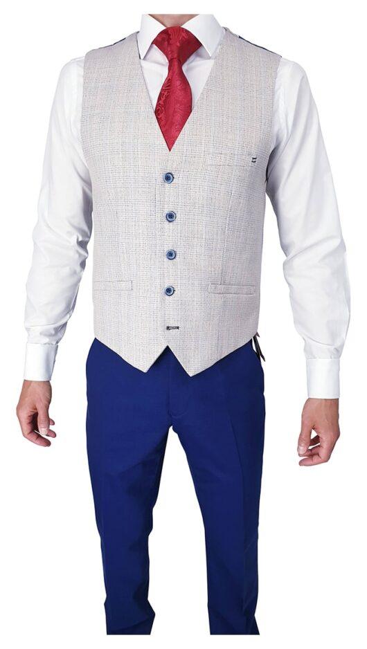 Herbie Frogg Blue Suit with Beige Waistcoat