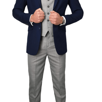 Cavani Navy and Grey Suit Outfit