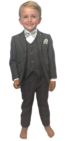 Boys Grey Tweed Effect 3pc Suit – Cavani Albert