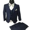 Boys Navy Blue 3pc Suit - Cavani Jefferson