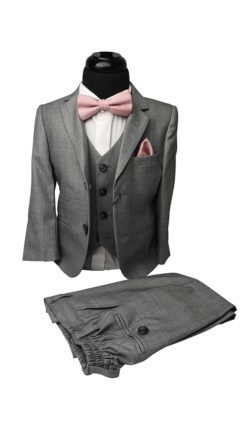 Boys Grey 3pc Suit - Cavani Reegan