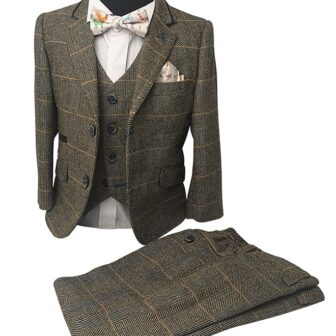 Boys Tan Tweed Effect 3pc Suit - Cavani Albert