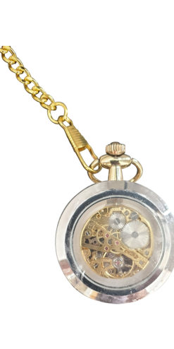 Steampunk Silver Gold Effect Pocket Watch