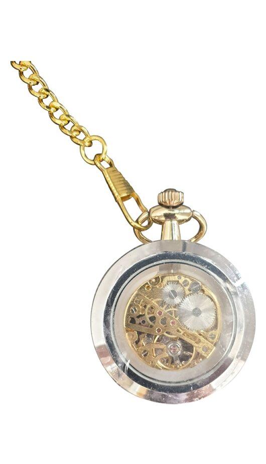 Steampunk Silver Gold Effect Pocket Watch