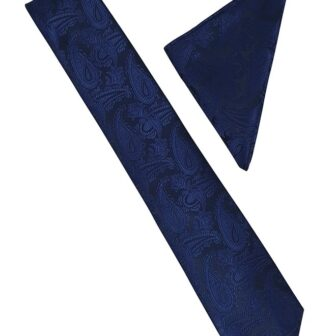 Navy Blue Paisley Tie and Hankie
