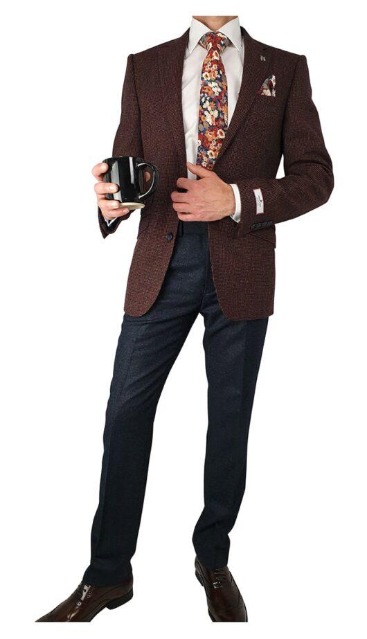 Herbie Frogg 3pc Burgundy Woollen Jkt Suit