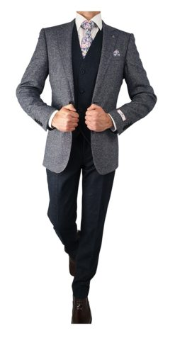 Herbie Frogg 3pc Blue Fleck Jkt Suit