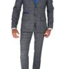 Grey and Blue Check 3pc Suit