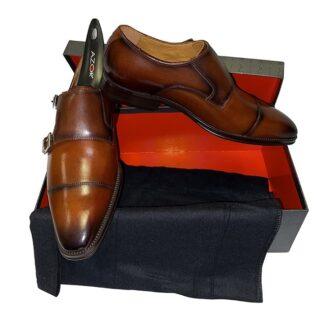 Azor Double Monk Dark Brown Shoe
