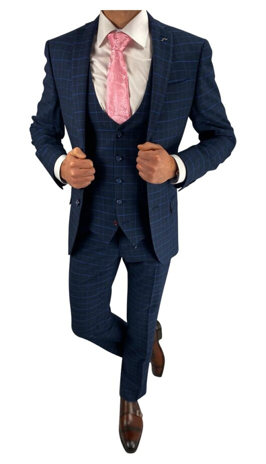 Navy and Blue Check 3 Piece Suit