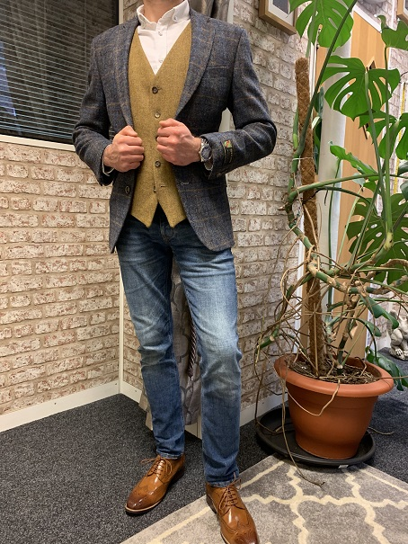 Blue and Gold Tweed Jacket and Waistcoat