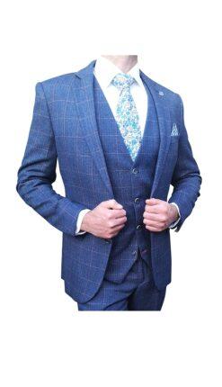 Marc Darcy - Harry Indigo Tweed Blue Blazer