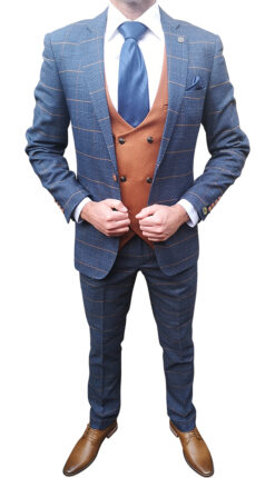Marc Darcy - Navy with Tan Double Breasted Waistcoat