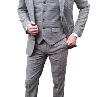Brown Tweed Effect 3 Piece Suit