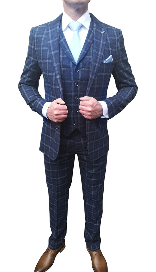 Navy Checked 3 Piece Suit