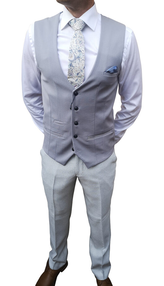 Marc Darcy - Stone Suit with Silver Waistcoat