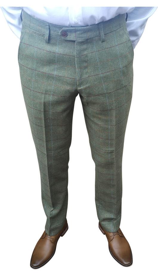 Marc Darcy - Ellis Moss Green Tweed Trousers