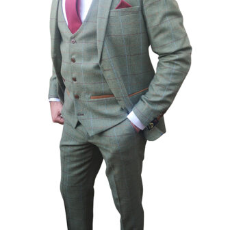 Marc Darcy - Ellis Moss Green Tweed 3 Piece Suit