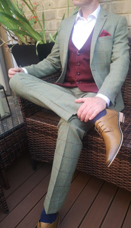 Marc Darcy - Green Tweed with Wine Waistcoat