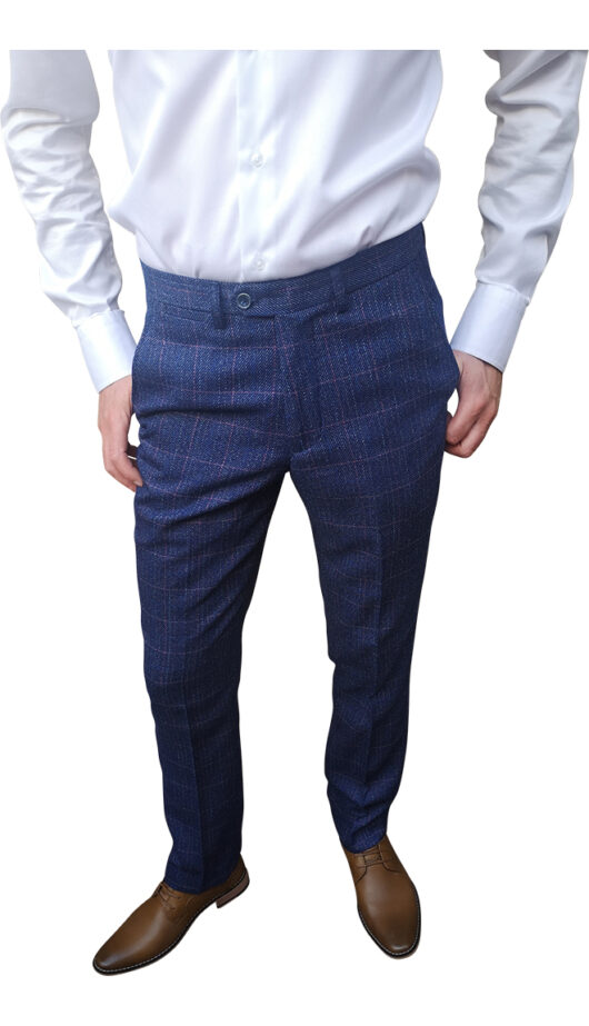 Marc Darcy - Harry Indigo Tweed Blue Trouser