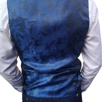 Marc Darcy - Harry Indigo Tweed Blue Waistcoat