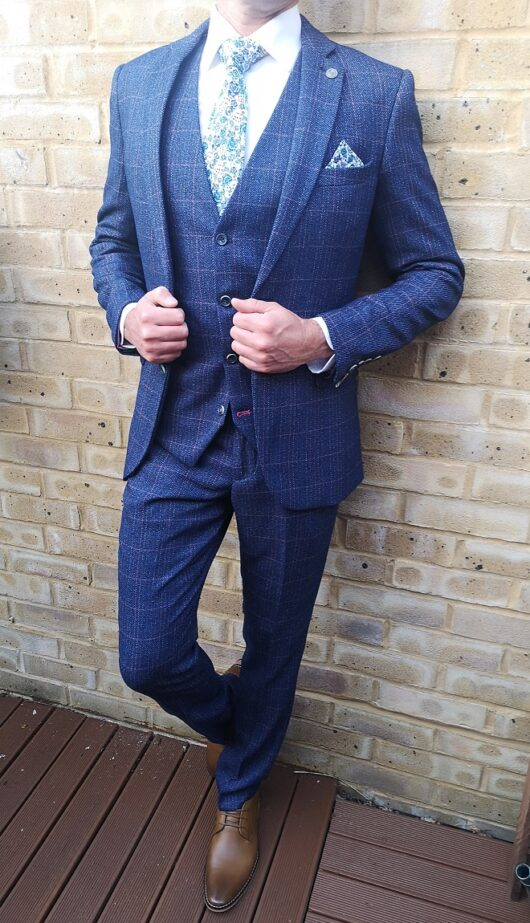 Marc Darcy - Harry Indigo Tweed 3 Piece Blue Suit
