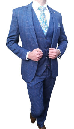 Marc Darcy - Harry Indigo Tweed Blue Suit