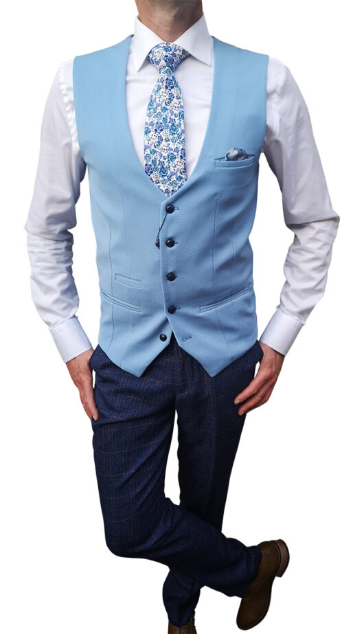 Marc Darcy - Tweed Blue Suit with Sky Blue Waistcoat