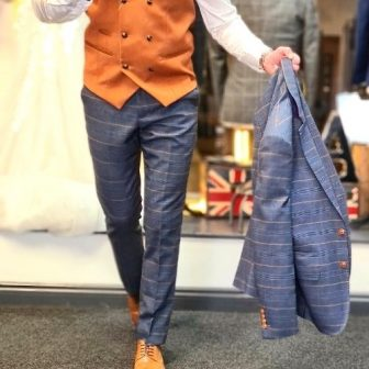 Marc Darcy - Blue Check Suit with Tan Double Breasted Waistcoat